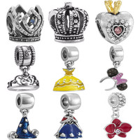 Crystal Crown Beads Fit Pandora Original Bracelet Pendant European Silver Plated DIY Charms Accessories For Jewelry Making