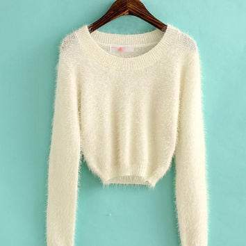 Elastic Long Sleeve Cropped Furry Sweater