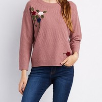 Floral Embroidered Pointelle Sweater   Charlotte Russe