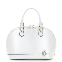 Round Satchel with Padlock in White