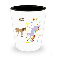 Mimi Gift for Mimis Christmas Gift for Grandma Pole Dancing Unicorn Ceramic Shot Glass