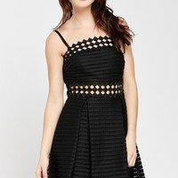 Checkmate Checkered-Trimmed Eyelet Dress