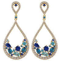 Gold Plated Sterling Silver Open Teardrop Earrings With White CZ & Synthetic Sapphire