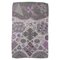 Vintage Patchwork Floral - Subdued Pink and Green Towel