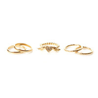 Heart Angel Wings 5 Piece Ring Set (GOLD OR SILVER)