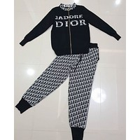 Dior Women Casual Stylish Long Sleeve Top Pants Set Two-Piece
