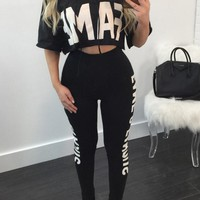 Letter Print Short T-shirt with Skinny Pants Two Pieces Set