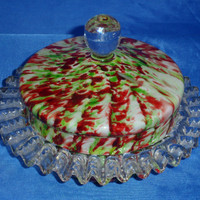 Fabulous lidded  bob-bon or powder dish in red / green  spatter glass with aventurine - probably 1930s Bohemian glass