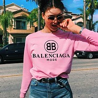 Balenciaga  Round Doubl B seller of printed monogrammed round-neck, long-sleeved sweaters for couples Pink
