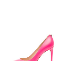 New Plain Leather Pumps T.100 in Fluo Pink