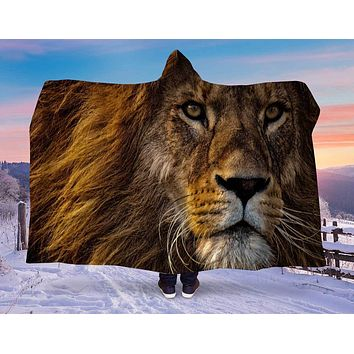 Lion Head Hooded Blanket