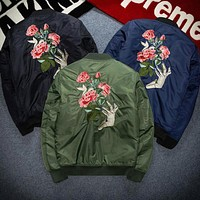 Rose embroidery autumn winter women men loose large size cotton coat with thick jacket