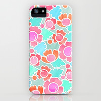 Pastel Tropical Floral Pattern Design with watercolor texture iPhone & iPod Case by Micklyn