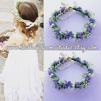 Baby's breath and lavender flower crown Hair Wreath / Halo Baby Breath Crown, Baby breath headpiece, Baby breath halo, flower girl , etsy