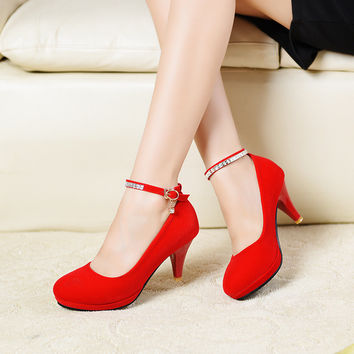 women bride Red Black Suede medium high heels female wedding shoes famous pumps brand middle low heel shoes Ladies Diamond shoes