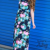 Short Sleeve Maxi Dress with Navy and Pink Floral Print
