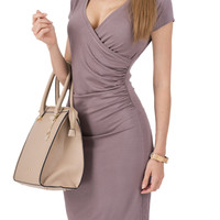Coffee Wrap Front Plunge Short Sleeve Ruched Dress