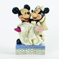 """Disney Traditions by Jim Shore Mickey and Minnie Wedding Figurine """"Congratulations"""" (4033282)"""