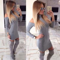 Kaywide Rib Winter Dress Women Turtleneck Off The Shoulder Sexy Dresses Full Sleeve Elegant Bodycon Sweater Dress