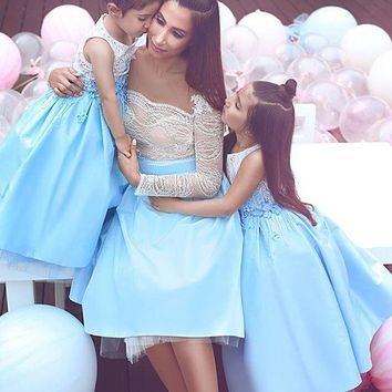 robe de cocktail Mother and Daughter Gown Short Prom Dresses with Long Sleeve Light Blue Baby Shower Dresses for Mom Cheap