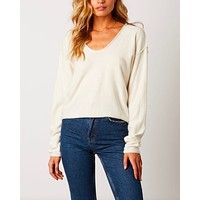 Cotton Candy LA - Lightweight Round Neckline Sweater in Ivory