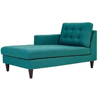 Empress Upholstered Fabric Chaise In TeaL