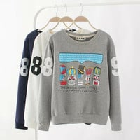 Number Letter Print Sweater