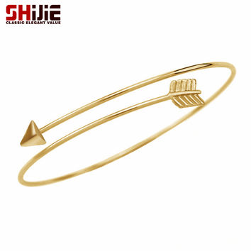 Lovely cuff bracelets & bangles for women Gold Silver Black Arrow bracelet men open bangle pulseras mujer Shijie fashion jewelry