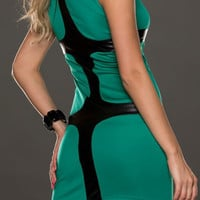 Sleeveless Cyan Bodycon Dress with Black Leather Details