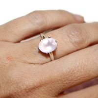 Beautiful Rose Quartz Ring, Sterling Silver, Oval Ring, Anniversary Ring