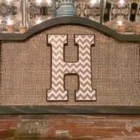 Burlap Chevron Monogram Wall Decor Family Sign