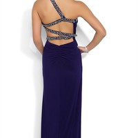 Long Homecoming Dress with Ruched Bodice and Cutout Back