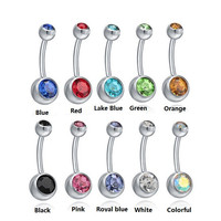 1pc Royal Crystal Navel Piercing Nombril Sexy Belly Button Rings Industrial Body Jewelry Women Belly Button Piercing Ombligo