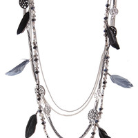 Multichain and bead necklace with feather pendants