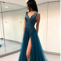 Prom Dresses Beaded Dark Blue Evening Dresses Prom Slit