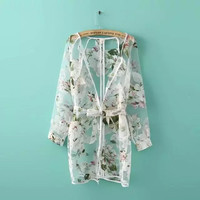 Floral Print See Through Long-Sleeve Drawstring Coat