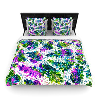 "Ebi Emporium ""Prismatic Posy III"" Purple Green Woven Duvet Cover"