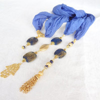 Blue Jewelry Scarf, Scarf Necklace,  Gold Plated,Star Stone Necklace , Turkish Silk Necklace, Mother Day Gifts