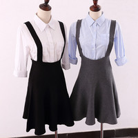Fashion knitted suspenders skirt