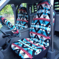 1 Set of Warrior Print  Car Seat Covers and steeling wheel cover custom made.