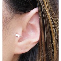 2016 Hot Selling Unisex Summer Style Gold/Silver Plated Cubic Zirconia Tragus Ear Cuff  Clip Earrings For Women Fashion Earing