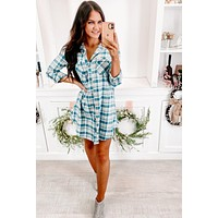 Need Attention Flannel Dress (Teal)
