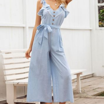 Spring and summer striped jumpsuit casual new long jumpsuit V-neck female