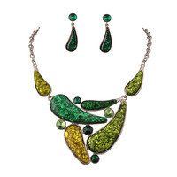 Green Necklace Irregular Choker Jewelry Fine Jewelry Sets Silver Chain Necklaces with Earrings Set