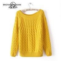 BINGYUANHAOXUAN Femme 2018 Autumn Winter Women Sweaters And Pullovers Plaid Thick Knitting Sweater Female Loose Pure Color