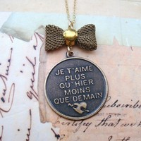 I love you more than yesterday but less than tomorrow necklace. FREE WORLDWIDE SHIPPING.