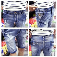 Summer Ripped Holes Men Shorts Stretch Slim Jeans [6528423427]