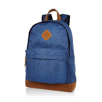 River Island MensBlue textured canvas backpack