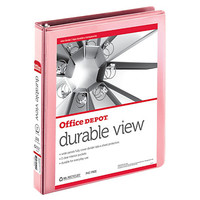 "Office Depot® Brand Nonstick Round-Ring View Binder, 1"" Rings, 100% Recycled, Pink Item # 208531"