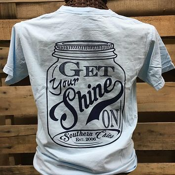 Southern Chics Funny Get Your Shine On Mason Jar Moonshine Girlie Bright T Shirt